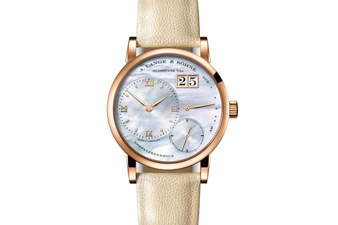 A. Lange & Sohne Little Lange 1 - 18k Rose Gold on Cream Leather - Pearl Dial