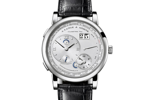 A. Lange & Sohne Lange 1 Time Zone - Platinum on Black Leather - Silver Dial