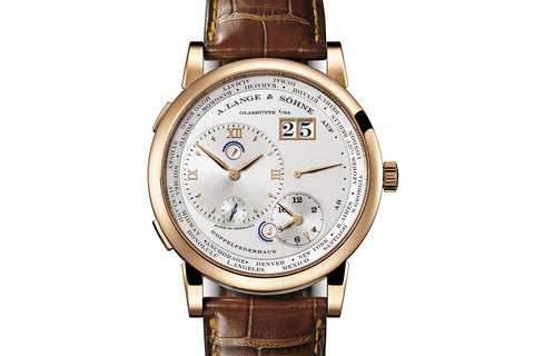 A. Lange & Sohne Lange 1 Time Zone - 18k Rose Gold on Brown Leather - Silver Dial