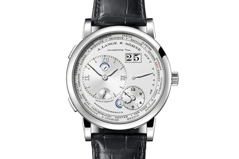 A. Lange & Sohne Lange 1 Time Zone - 18k White Gold on Black Leather - Silver Dial