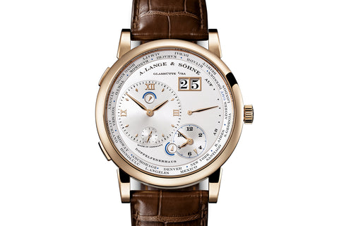 A. Lange & Sohne Lange 1 Time Zone - Honey Gold on Brown Leather - Silver Dial
