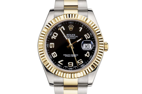 Rolex Datejust II Stainless Steel & 18K Gold - Black Dial w/ Numeric Markers