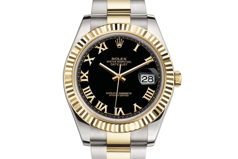 Rolex Datejust II Stainless Steel & 18K Gold - Black Dial w/ Roman Numeral Markers