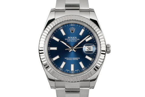 Rolex Datejust II Stainless Steel & White Gold Bezel - Blue Dial w/ Luminous Markers