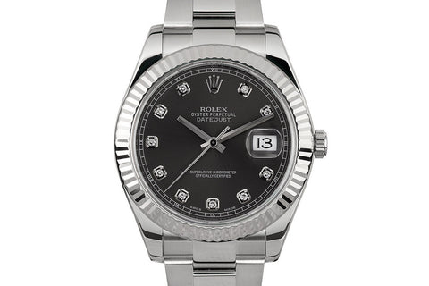 Rolex Datejust II Stainless Steel & White Gold Bezel - Rhodium Dial w/ Diamond Markers