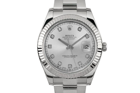 Rolex Datejust II Stainless Steel & White Gold Bezel - Silver Dial w/ Diamond Markers