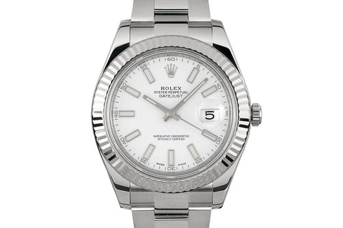 Rolex Datejust II Stainless Steel & White Gold Bezel - White Dial w/ Luminous Markers