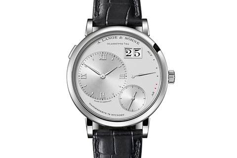 A. Lange & Sohne Grande Lange 1 - Platinum on Black Leather - Silver Dial