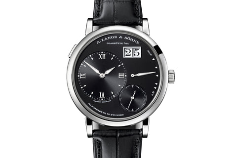 A. Lange & Sohne Grande Lange 1 - 18k White Gold on Black Leather - Black Dial