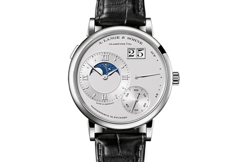 A. Lange & Sohne Grande Lange 1 Moonphase - Platinum on Black Leather - Silver Sial