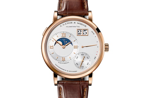 A. Lange & Sohne Grande Lange 1 Moonphase - 18k Rose Gold on Brown Leather - Silver Dial