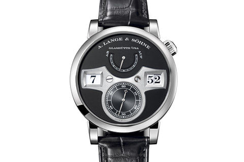 A. Lange & Sohne Zeitwerk - 18k White Gold on Black Leather - Black Dial