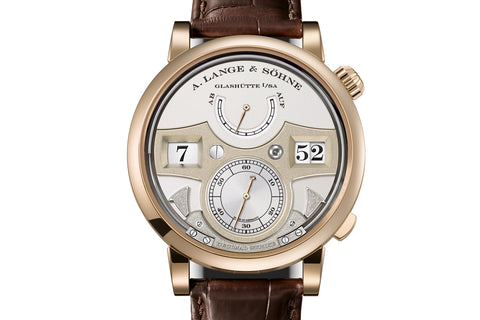 A. Lange & Sohne Zeitwerk Decimal Strike - Honey Gold on Brown Leather - Silver Dial