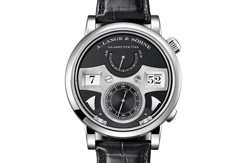 A. Lange & Sohne Zeitwerk Striking Time - 18k White Gold on Black Leather - Black Dial