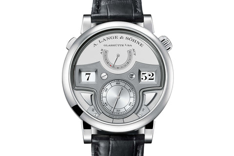 A. Lange & Sohne Zeitwerk Minute Repeater - Platinum on Black Leather - Silver Dial