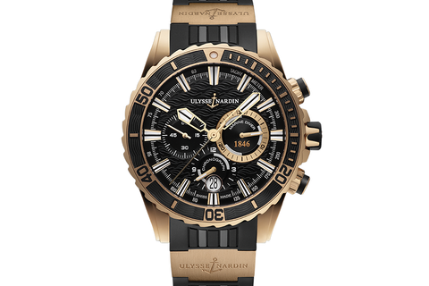 Ulysse Nardin Diver Chronograph - 18k Rose Gold on Black Rubber with 18k Rose Gold Elements - Black Dial