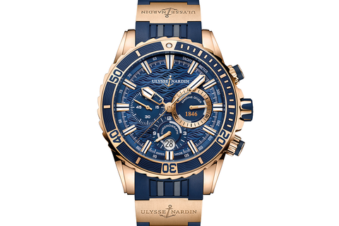 Ulysse Nardin Diver Chronograph - 18k Rose Gold on Blue Rubber with 18k Gold Elements - Blue Dial