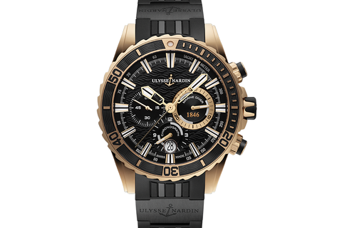 Ulysse Nardin Diver Chronograph - 18k Rose Gold on Black Rubber with Ceramic Elements - Black Dial