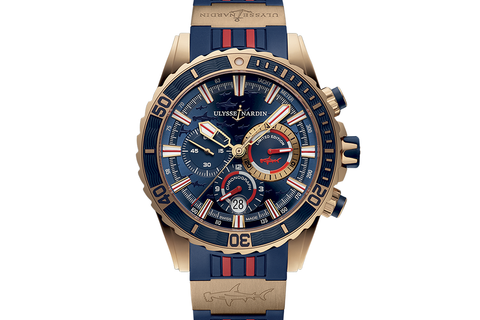 Ulysse Nardin Diver Chronograph Hammer Edition - 18k Rose Gold on Blue & Red Rubber - Blue Dial