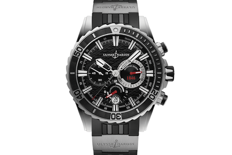 Ulysse Nardin Diver Chronograph - Stainless Steel on Black Rubber with Titanium Elements - Black Dial