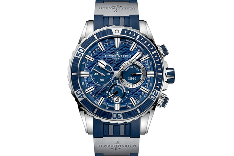 Ulysse Nardin Diver Chronograph - Stainless Steel on Blue Rubber with Titanium Elements - Blue Dial