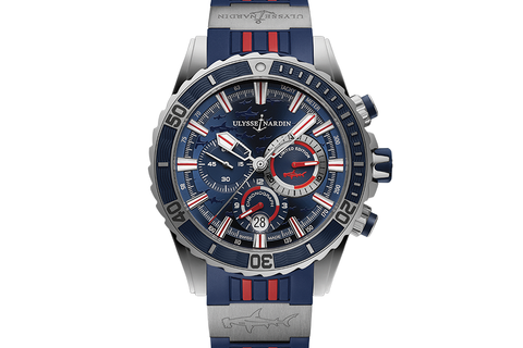 Ulysse Nardin Diver Chronograph Hammer Edition - Stainless Steel on Blue & Red Rubber - Blue Dial