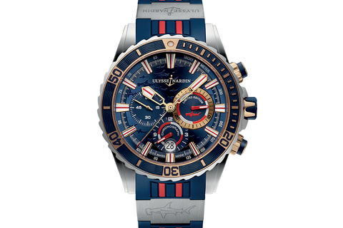 Ulysse Nardin Diver Chronograph Hammer Edition - Stainless Steel & 18k Rose Gold on Blue & Red Rubber - Blue Dial
