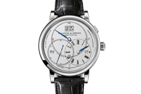 "A. Lange & Sohne Richard Lange Perpetual Calender ""Terraluna"" - 18k White Gold on Black Leather - Silver Dial"