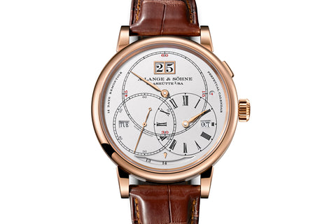 "A. Lange & Sohne Richard Lange Perpetual Calender ""Terraluna"" - 18k Rose Gold on Brown Leather - Silver Dial"