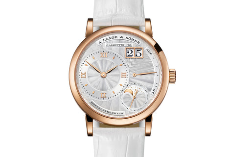 A. Lange & Sohne Little Lange 1 Moonphase - 18k Rose Gold on White Leather - Silver Dial