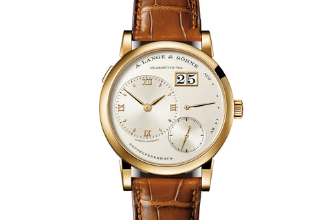A. Lange & Sohne Lange 1 - 18k Yellow Gold on Brown Leather - Champagne Dial