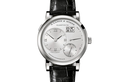 A. Lange & Sohne Lange 1 - Platinum on Black Leather - Silver Dial