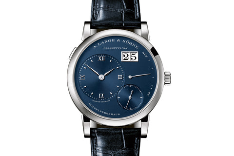 A. Lange & Sohne Lange 1 - 18k White Gold on Black Leather - Blue Dial