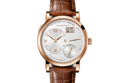 A. Lange & Sohne Lange 1 - 18k Rose Gold on Brown Leather - Silver Dial