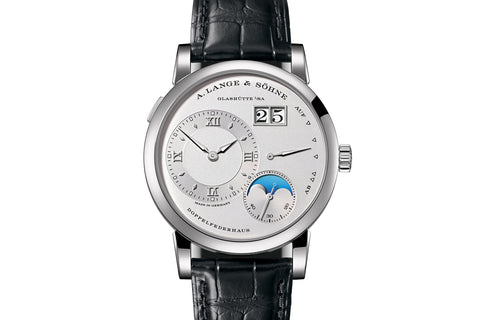 A. Lange & Sohne Lange 1 Moonphase - Platinum on Black Leather - Silver Dial