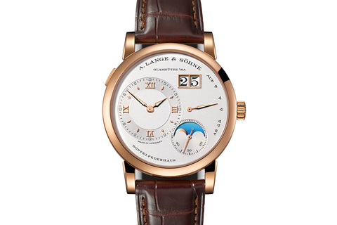 A. Lange & Sohne Lange 1 Moonphase - 18k Rose Gold on Brown Leather - Silver Dial