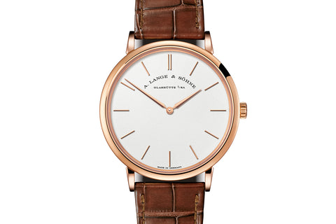 A. Lange & Sohne Saxonia Thin 37mm - 18k Rose Gold on Brown Leather - Silver Dial
