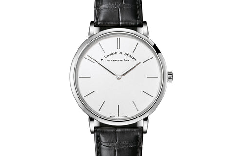 A. Lange & Sohne Saxonia Thin 40mm - 18k White Gold on Black Leather - Silver Dial