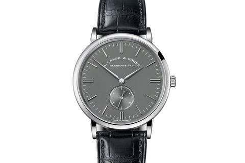 A. Lange & Sohne Saxonia Boutique Edition - 18k White Gold on Black Leather - Grey Dial