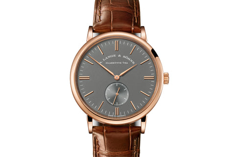 A. Lange & Sohne Saxonia Boutique Edition - 18k Rose Gold on Brown Leather - Grey Dial