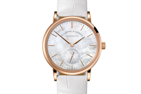 A. Lange & Sohne Saxonia - 18k Rose Gold on White Leather - Pearl Dial