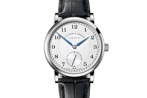 A. Lange & Sohne Lange 1 Moonphase - 18k White Gold on Black Leather - Black Dial