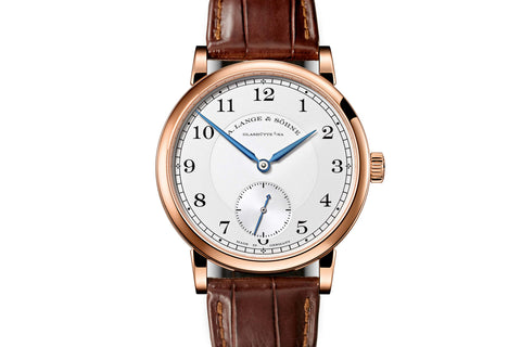 A. Lange & Sohne Saxonia Moonphase - 18k Rose Gold on Brown Leather - Silver Dial