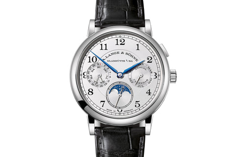 A. Lange & Sohne Saxonia Annual Calendar - 18k White Gold on Brown Leather - Silver Dial