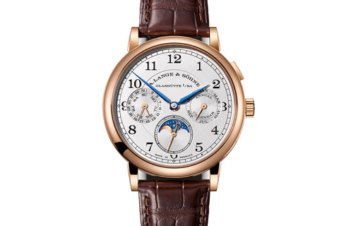 A. Lange & Sohne Lange 1 Daymatic - 18k Rose Gold on Brown Leather - Silver Dial