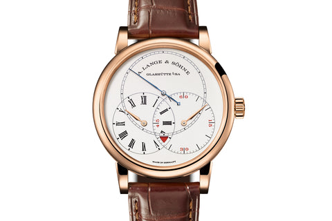 A. Lange & Sohne Richard Lange Jumping Seconds - 18k Rose Gold on Brown Leather - Silver Dial