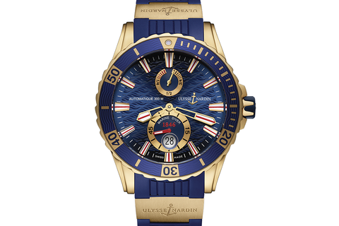 Ulysse Nardin Diver Chronometer - 18k Rose Gold on Blue Rubber with 18k Rose Gold Elements - Blue Dial