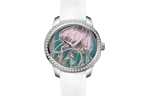 Ulysse Nardin Jade - Stainless Steel & Diamond on White Leather - Jellyfish Dial