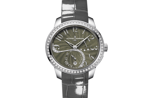Ulysse Nardin Jade - Stainless Steel & Diamond on Grey Leather - Grey Dial