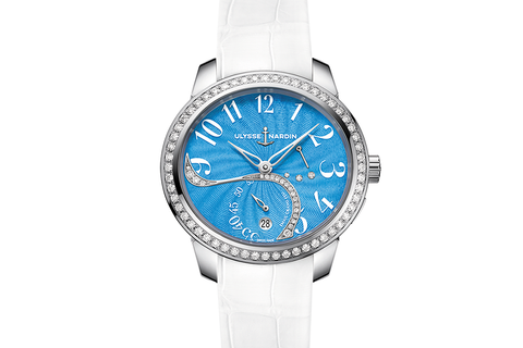Ulysse Nardin Jade - Stainless Steel & Diamond on White Leather - Blue Dial